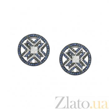 Золотые серьги с бриллиантами и сапфирами Зориана 000026612