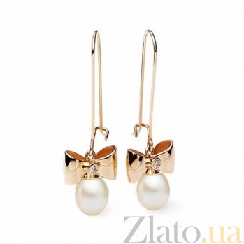 Золотые серьги с овальным жемчугом Жаклин SG--11426501/крас/овал