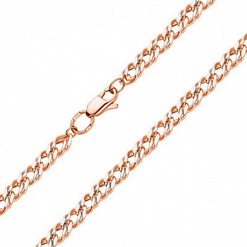 Золотий ланцюжок плетіння подвійний ромб з родованою алмазною гранню, 2,5 мм 000115632