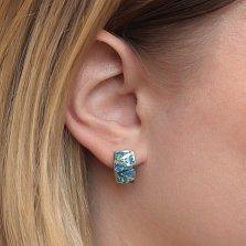 Серебряные серьги Зигзаг с треугольниками голубых опалов