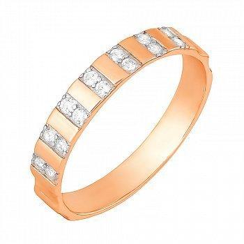 Позолоченное серебряное кольцо с цирконием 000028415