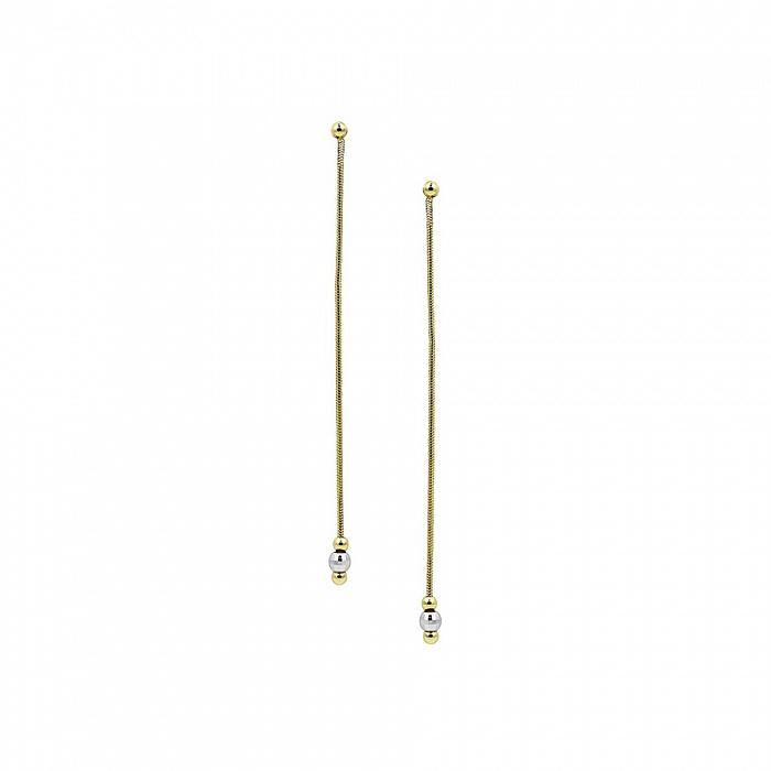 Серьги-подвески из комбинированного золота Одилия 000081452