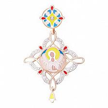 Золотой подвес Радостный ангел с фианитами и эмалью