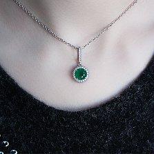 Кулон из серебра Юфеза с зеленым агатом и фианитами
