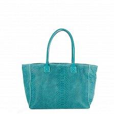 Кожаная сумка на каждый день Genuine Leather 7804 бирюзового цвета на молнии и магнитной кнопке
