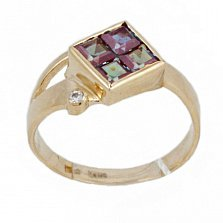 Золотое кольцо Жозефа с синтезированным александритом и фианитом
