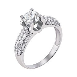 Кольцо из белого золота с бриллиантами 000147448