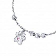 Серебряный браслет Лапка с розовым опалом и подвеской-сердечком,10х10 мм