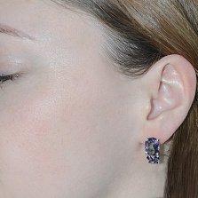 Серебряные серьги Анжелика с фиолетовым цирконием