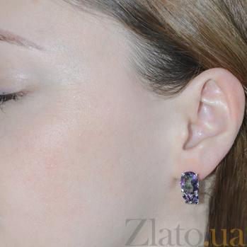 Серебряные серьги Анжелика с фиолетовым цирконием Анжелика с/фиол