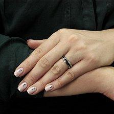 Серебряное кольцо Канада с полоской черной эмали