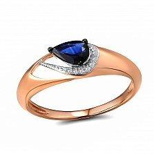 Кольцо из красного золота Катарина с бриллиантами и сапфиром