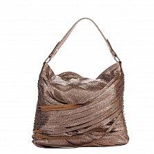 Кожаная деловая сумка Genuine Leather 8967 бронзового цвета на молнии, с декором из тонких полосок