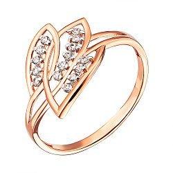 Кольцо из красного золота с фианитами и родированием 000137875