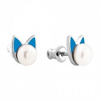 Серебряные серьги-пуссеты Ушки с жемчугом и голубой эмалью 000062185