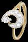 Серебряное кольцо Пегги с фианитами и позолотой 000025659
