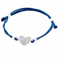 Шелковый браслет Сияние сердца с серебряной вставкой и фианитами
