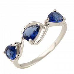 Серебряное кольцо Милада с синтезированным сапфиром