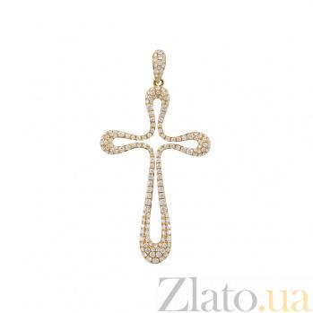 Золотой крест с бриллиантами Добрая душа 000026783