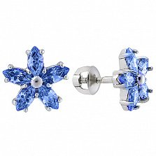 Серебряные серьги пуссеты с синим цирконием Флер