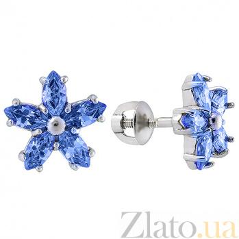 Серебряные серьги пуссеты с синим цирконием Флер 2442/9р син