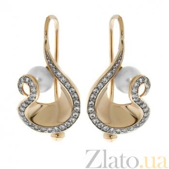 Золотые серьги с жемчугом Ариадна TNG--420696