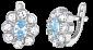Серебряные серьги с голубыми фианитами Флора SLX--С2ФТ1/033