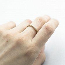Золотое кольцо Утонченность вкуса в желтом цвете с дорожкой завальцованных фианитов