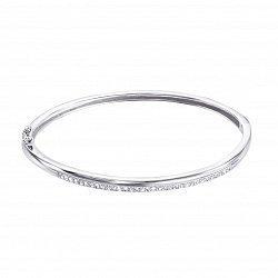 Серебряный жесткий браслет с дорожкой из фианитов 000123500
