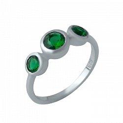 Серебряное кольцо Трио с завальцованными синтезированными изумрудами