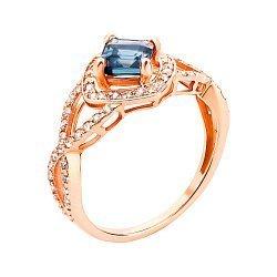 Кольцо из красного золота с топазом и фианитами 000143509
