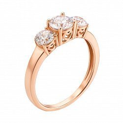 Кольцо в красном золоте с фианитами 000117721