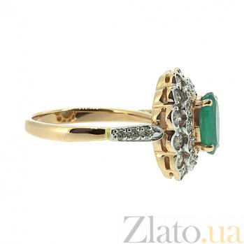 Золотое кольцо в красном цвете с изумрудом и бриллиантами Донателла ZMX--RE-6283_K