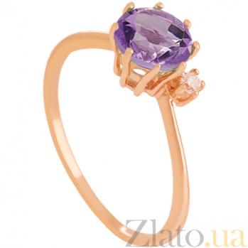 Золотое кольцо с аметистом и фианитом Валери 000029472
