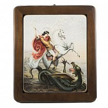 Икона на деревянной основе Георгий Подбедоносец с цветной эмалью, 29х34
