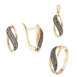 Золотой гарнитур с бриллиантами Азалия 000017711