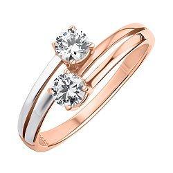 Золотое кольцо в комбинированном цвете с цирконием Swarovski 000147831