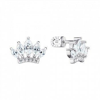Серебряные серьги-пуссеты с фианитами 000148516