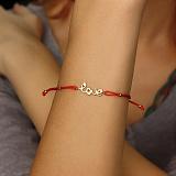 Шелковый браслет Love с золотой вставкой-надписью и цирконием