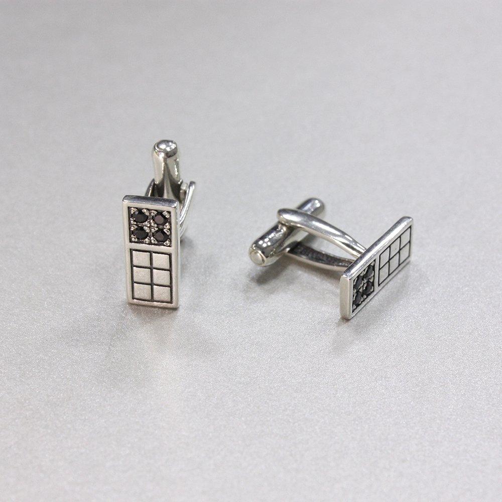 Серебряные запонки Жак с чернением и фианитами