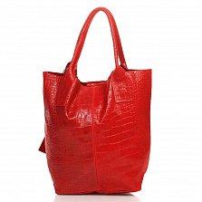 Кожаная сумка на каждый день Genuine Leather 5190 красного цвета на магнитной кнопке с косметичкой