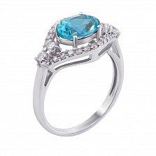Серебряное кольцо Прага с голубым кварцем swiss blue и фианитами
