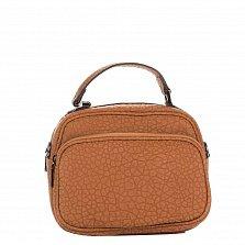 Кожаный клатч Genuine Leather 8862 коньячного цвета с короткой ручкой и накладным карманом