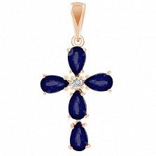 Золотой крестик Луиза с сапфирами и бриллиантом