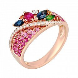 Кольцо из золота с цаворитом, рубином, сапфирами и бриллиантами Альпийский луг 000029299