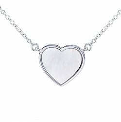 Серебряное колье Сердце малое с белым перламутром, 7x7мм