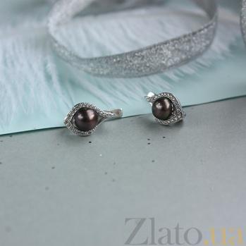 Серебряные серьги с черным жемчугом Мия 2264/9р ч жем