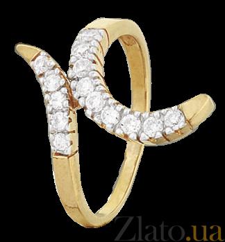 Серебряное кольцо с фианитами Змейка 000025631
