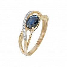 Золотое кольцо в красном цвете с сапфиром и бриллиантами Мечтательница