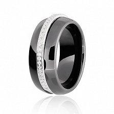 Кольцо из серебра и черной керамики Млечный путь с фианитами